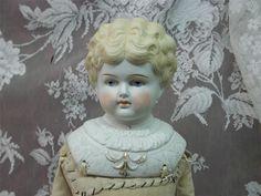 Antique Bisque Parian Fancy Gold Trimmed Molded Shoulderplate Blond Doll 21 | eBay