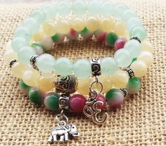 Stackable Yoga Bracelets Set Yoga Meditation by BohemianChicbead