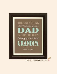 Christmas Gift for Grandpa  Brown Green by FirstComesLovePrints
