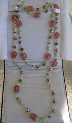 """Marion Lucy 48"""" Single Strand Necklace Made With Vintage Beads Pink Green Gold #MarionLucyCreations #StrandString"""