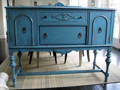 Antique Sideboard Server Buffet Teal Blue by dimadesigns on Etsy, $350.00