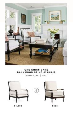ONE KINGS LANE BANKWOOD SPINDLE CHAIR | $1,300 LIVING SPACES KINGSLEY ACCENT CHAIR | $595 image via    See all of our looks for less on Pinterest! This post may contain affiliate links. Thanks for sup