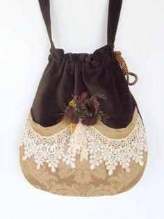 Victorian Bag Rose and Lace   Mori Girl  Brown Velvet Bag  Drawstring velvet bag Bag  Crossbody Drawstring Bag  Evening Bag. $45.00, via Etsy.