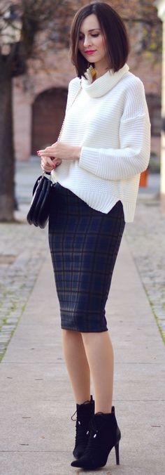 Dark Plaid Pencil Skirt Holiday Style Inspo women fashion outfit clothing stylish apparel @roressclothes closet ideas