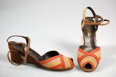 Bonwit Teller & Co.  Shoes   American  ca.1950 Straw, leather