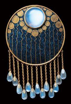 Art Nouveau Moonstone, Enamel, and Gold Brooch by Ferdinand Hauser, Austria Jewelry Crafts, Jewelry Art, Antique Jewelry, Vintage Jewelry, Jewelry Accessories, Fine Jewelry, Jewelry Design, Geek Jewelry, Enamel Jewelry