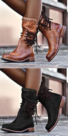 Back Zipper Vintage Boots Lace-Up Holiday Mid-calf Boots Crazy Shoes, Me Too Shoes, Look Fashion, Fashion Shoes, Fall Fashion, Mode Ab 50, Over Boots, Mode Shoes, Buckle Boots