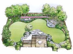 garden layout Eplans Landscape Plan - Water Garden Landscape from Eplans - House Plan Code Landscape Design Plans, Garden Design Plans, Yard Design, Simple Garden Designs, Rose Garden Design, Landscape Materials, Garden Pool, Water Garden, Garden Landscaping