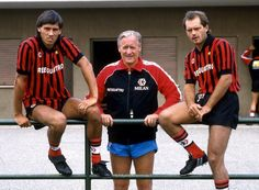 Milan manager Nils Liedholm with his two 'stranieri' for the 1984/85 season, Mark Hateley and Ray Wilkins
