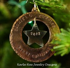 Baby's first xmas ornament, sterling silver and copper, hammered texture  Karla Rae Jewelry designs