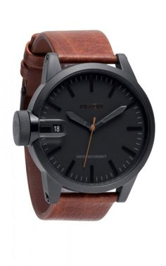 59858e302c61 obsessed with this plain black on black face and rich tan leather look  Black Stainless Steel