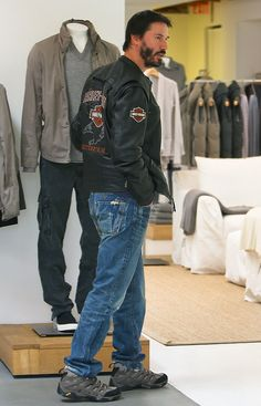 Chilled dude: Actor Keanu Reeves took some out to clothes shop in Los Angeles on Wednesday