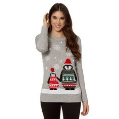 Red Herring Light grey penguin Christmas jumper- at Debenhams.com