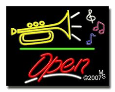 """Music logo Open Neon Sign - Script Text - 24""""x31""""-ANS1500-5838-3g  31"""" Wide x 24"""" Tall x 3"""" Deep  Sign is mounted on an unbreakable black or clear Lexan backing  Top and bottom protective sides  110 volt U.L. listed transformer fits into a standard outlet  Hanging hardware & chain included  6' Power cord with standard transformer  Includes 2nd transformer for independent OPEN section control  For indoor use only  1 Year Warranty on electrical components."""