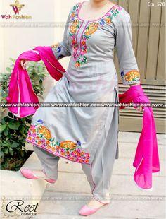 Resplendent Gray Embroidered Punjabi Suit