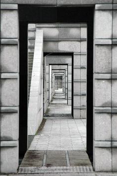 Parc André Citroën by amerune, via Flickr Perspective Pictures, Vanishing Point, Light And Shadow, Hallways, Great Photos, Pavilion, Gates, Stairs, Industrial