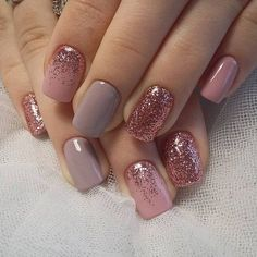 "Short nails are much easier for women. Especially working women prefer short nails. If you love short nails, you must see ""Wonderful Short Nail Desi. glitter gel nail designs for short nails for spring # Glitter Gel Nails, Rose Gold Nails, Fun Nails, Pretty Nails, Sparkle Nails, Acrylic Nails, Matte Nails, Pink Gel Nails, Shellac Nail Art"