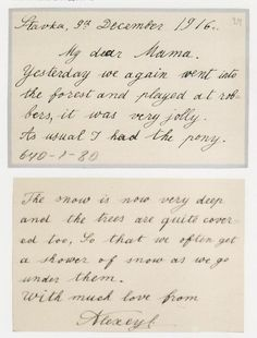 A letter from Alexei to his Mama - so sweet!