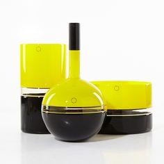 """TIMO SARPANEVA - Art glass vase & bowl """"Tuuli"""" and bottle """"Vire for Venini, Murano, Italy 1990-91. - A Finnish designer.    [bowl h. 14 cm, Ø 21,5 cm, vase h. 25,5 cm, bottle h. 32 cm]"""