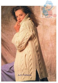 A PDF Knitting Pattern for a fabulous Aran Jacket in a Cabled Design with side Slit Pockets and a snug Collar.    Knitted in Aran (Worsted/10 ply) wool. To fit bust sizes 34-42 (86cm - 107cm). A pair of 4.5mm / UK No 7 are required.  Between 25-37 x 50 gram balls of Aran wool would also be required Aran Knitting Patterns, Digital Pattern, Large Prints, Vintage Patterns, Lady, Coat, Snug, Sweaters, Cardigans