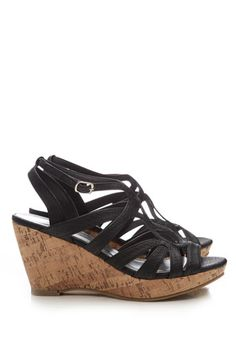 Black Wedge Sandal - wedges are a great Summer shoe for dresses!