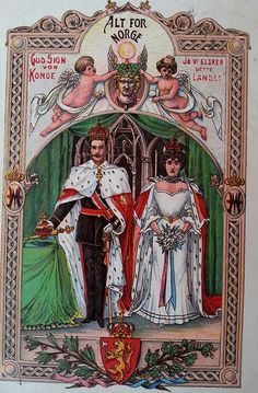Old postcard King and Queen of Norway.