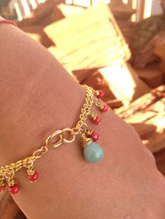 coral and amazonite by jeweldesignsbyred on Etsy, $25.00