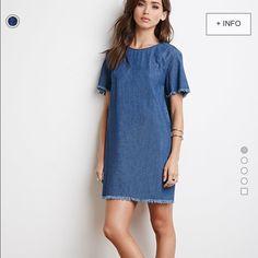 NWT denim frayed dress!! NWT!! size L (8-10) Forever 21 Dresses Mini