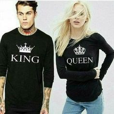 Pack of 2 - King & Queen Full Sleeves T-shirts for Couple Couple Tshirts, Full Sleeves, Deal Today, King Queen, Graphic Sweatshirt, T Shirt, Pakistan, Online Shopping, Delivery