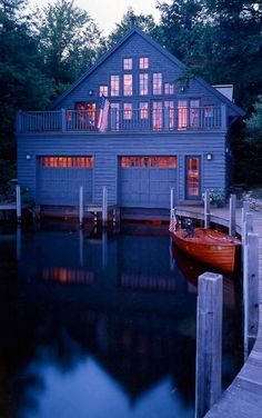 um wow. lake house with garage for boats. interesting..