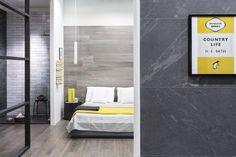 MarinaC bespoke striped linen bed set for #Ragno Marazzi showroom - ph. Mattia Iotti . styling Marta Meda