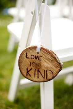 love is kind wedding aisle chair decor