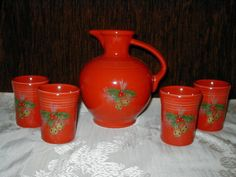 Homer Laughlin Fiesta Scarlet Red Salary 2004 Holiday Luncheon Carafe 4 Tumblers #Fiestaware