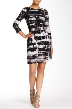 3/4 Sleeve Faux Leather Trim Dress