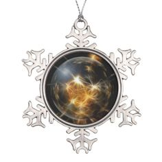 Pewter Snowflake with gold globe image Ornament