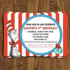Dr Seuss Birthday Invitation, Cat in the Hat, Dr Soos, Red and Blue. $12.75, via Etsy.