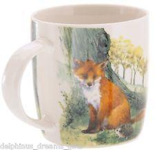 Fox And Hedgehogs Countryside Wildlife Themed Bone China Mug In Gift Box