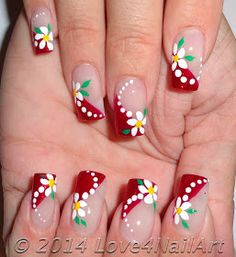 Nail art is a very popular trend these days and every woman you meet seems to have beautiful nails. It used to be that women would just go get a manicure or pedicure to get their nails trimmed and shaped with just a few coats of plain nail polish. Red Nail Designs, Nail Designs Spring, Cute Nails, Pretty Nails, Glitter Manicure, Floral Nail Art, Trendy Nail Art, French Tip Nails, Christmas Nail Art