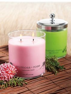 """Here you have the Mimosa Rose shown in Pink """"Uplift"""" mood available in jar, tealights and pods, also Rosemary Thyme shown in Green """"Rejuvenate"""" mood also available in jar, tealights and pod. Agsin a Price Decrease on the Jar and Pods! Rose Candle, Candle Set, Candle Jars, Candle Holders, Gold Canyon Candles, I Love Gold, Candels, Best Candles, Smell Good"""