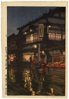 "Hiroshi Yoshida - Kagurazaka Street after a Night Rain - 1929 - 16"" x 11"""