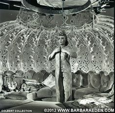 This rare photo features a view of the famous interior of Jeannie's bottle. An angle that was never seen on television showing the lighting and support structure.