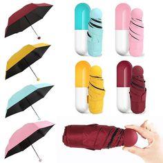Mini Colors Pocket Capsule Rain Umbrellas Windproof UVA Five Folding Umbrella Uv Umbrella, Fishing Umbrella, Mini Umbrella, Umbrella Lights, Compact Umbrella, Best Coupon Sites, Lovely Travels, Anti Uv, Diy Handbag