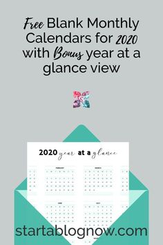 Free Printable Blank 2020 Monthly Calendars with Bonus Year at a Glance,
