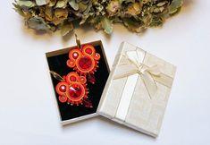 Items similar to Red Yellow Gold Soutache Earrings Elegant Folk Ethnic Jewelry Gift for Mother Unique OOAK Lightweight Earrings Oktoberfest dirndl accesrory on Etsy Soutache Earrings, Gold Earrings, Christmas Night, Christmas Gifts, Jewelry Gifts, Jewellery, Christmas Earrings, Embroidery Techniques, Acrylic Beads