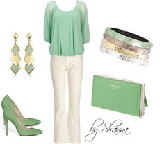 """""""Mint Chiffon blouse and ivory trousers"""" by shauna-rogers on Polyvore"""