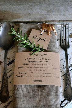 Kraft Wedding Napkin Menus by LaPommeEtLaPipe on Etsy, $1.75