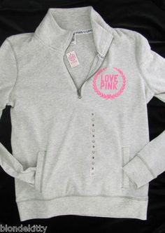 Gray Half Zip LOVE PINK hoodie