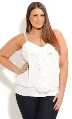 City Chic STRAPPY EMBROIDERED FRILL TOP -Women's Plus Size Fashion