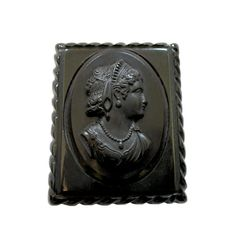 Vintage Black Cameo Mourning Brooch by VivisVintageFancy