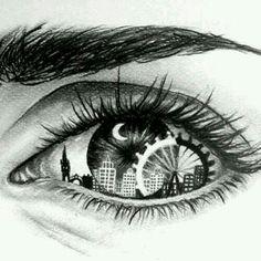 Eye Art with skyline & Ferris wheel Amazing Drawings, Cool Drawings, Drawing Sketches, Amazing Art, Pencil Drawings, Dancing Drawings, City Drawing, Unique Drawings, Maze Drawing